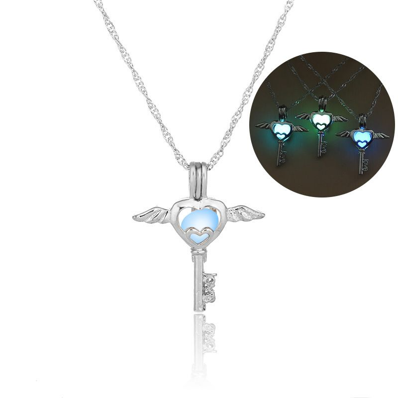 Fashion hollow angel key cage DIY pendant  luminous necklace NHAN252969