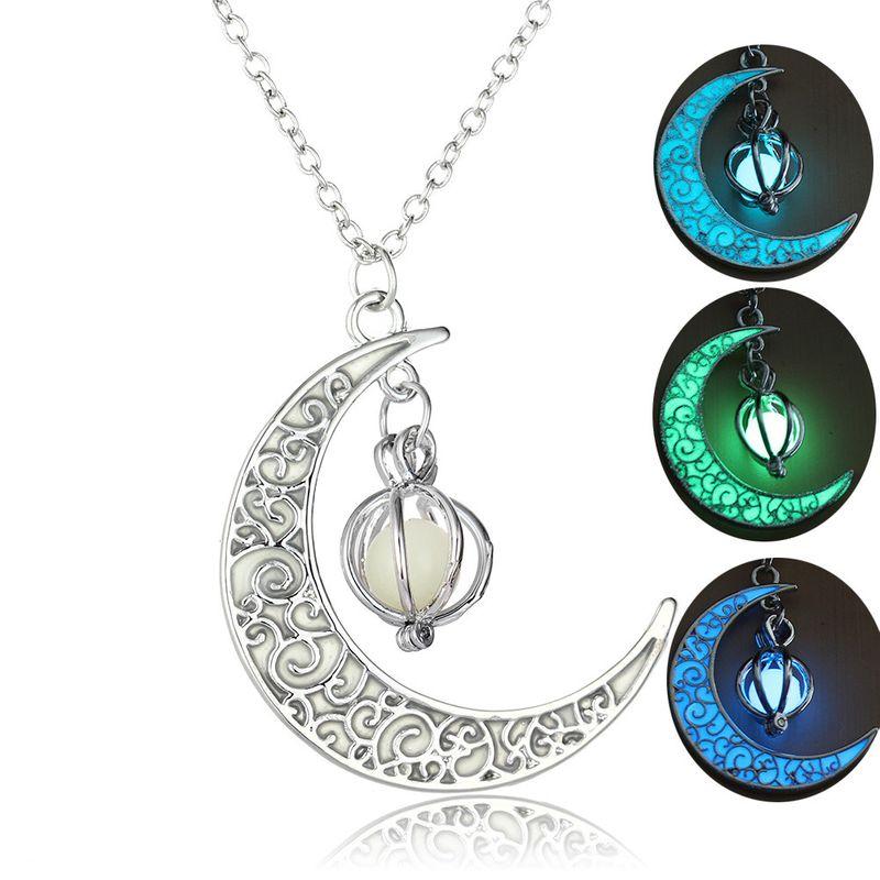 Hot Selling Moon Pumpkin Pendant Luminous Stone Luminous women's Necklace NHAN252971