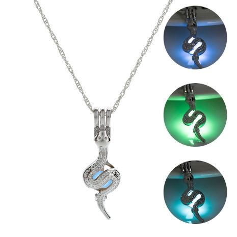 snake luminous pendant necklace dark night glowing women's necklace NHAN252974's discount tags