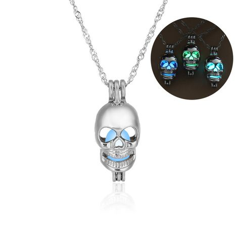 Fashion all-match hot sale luminous cage  hollow skull head pendant women's necklace NHAN252975's discount tags