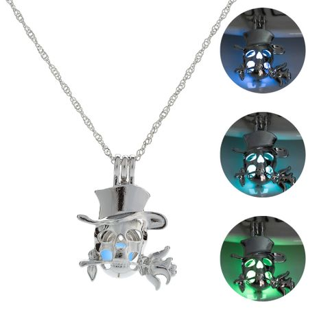 skull rose luminous pendant women's necklace wholesale NHAN252976's discount tags
