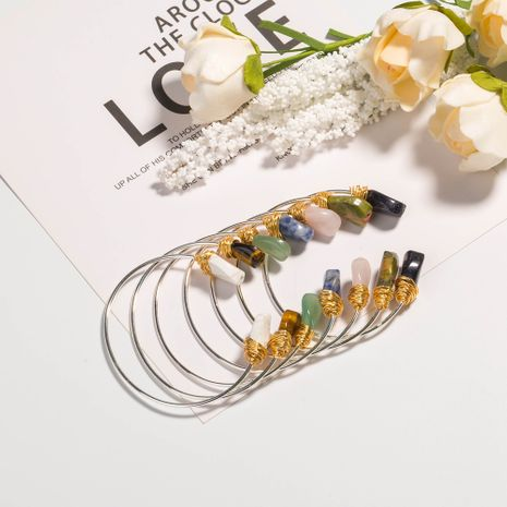 bracelet en pierre naturelle irrégulière réglable en argent rétro NHAN252983's discount tags