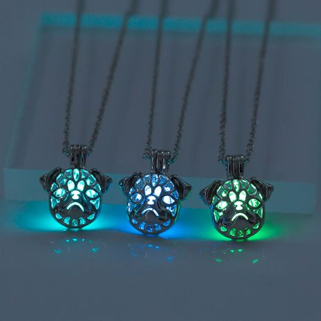 Hollow Openable Pug Luminous Pendant Necklace NHAN252995's discount tags