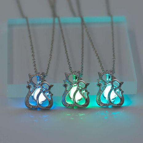 Fashion creative jewelry two cats  love luminous pendant necklace wholesale NHAN252996's discount tags