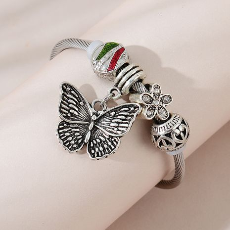 retro French fashion big butterfly rhinestone small flower bracelet wholesale nihaojewelry NHPS253021's discount tags
