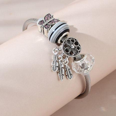 bracelet en verre de plume de papillon rétro de mode en gros nihaojewelry NHPS253022's discount tags