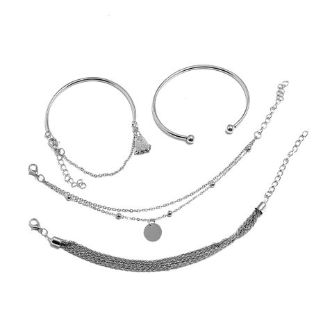 creative simple silver bracelet set wholesale nihaojewelry NHPS253067's discount tags