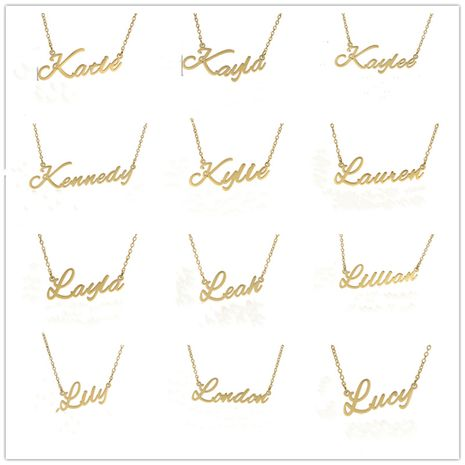 Fashionable stainless steel customizable English alphabet name ladies necklace wholesale NHJJ252606's discount tags