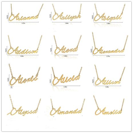 Fashionable stainless steel customizable English alphabet name ladies necklace wholesale NHJJ252605's discount tags