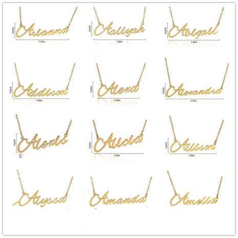 Collar de las señoras del nombre del alfabeto inglés personalizable de moda de acero inoxidable al por mayor NHJJ252605's discount tags