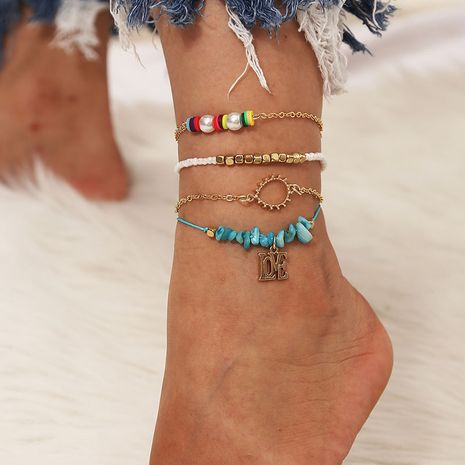 Bohemian style Handmade Pearl Crushed Stone Beach Fashion Letter 4-piece Set Anklets  NHLA264166's discount tags