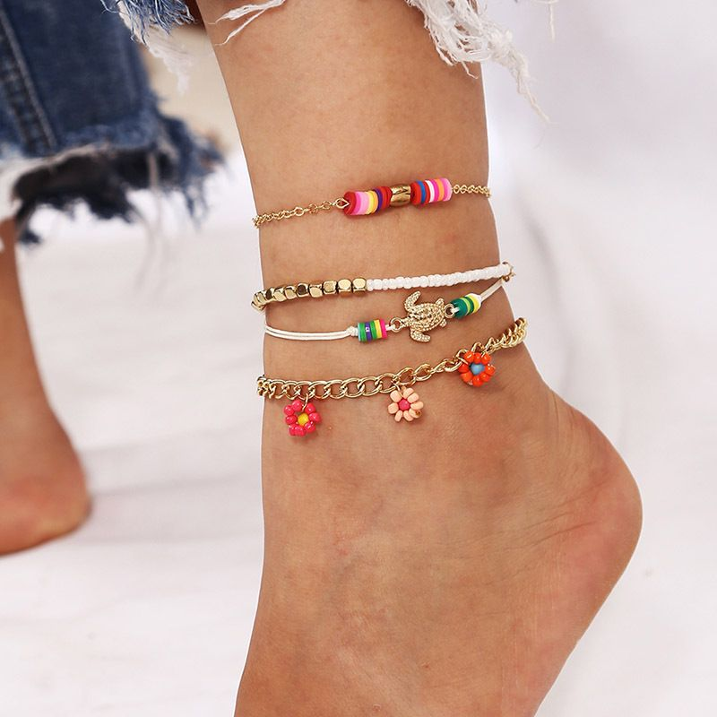 Bohemian Beach style hand-woven flower rice beads multi-layer anklets 4-piece set NHLA264172