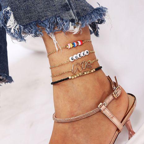 Perles de riz de style bohème, lettre de poterie douce, bracelet de cheville tissé REINE NHLA264174's discount tags