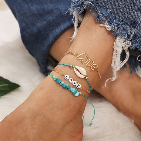 Bohemian style gravel shell LOVE letter beaded 4-piece anklets NHLA264175's discount tags