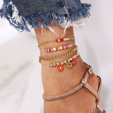 Bohemian style handmade flowers rice bead multi-layer woven 4-piece anklets NHLA264178's discount tags
