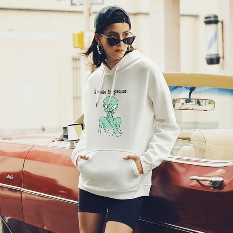 hot-saling autumn new fashion hooded loose alien printed sweater NHSN264287's discount tags