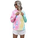 hot sale womens autumn digital printing longsleeved loose hooded tiedye sweater tops NHDF264309