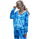 fashion digital printing zipper tiedye hooded long sleeves sweater jacket for women NHDF264311