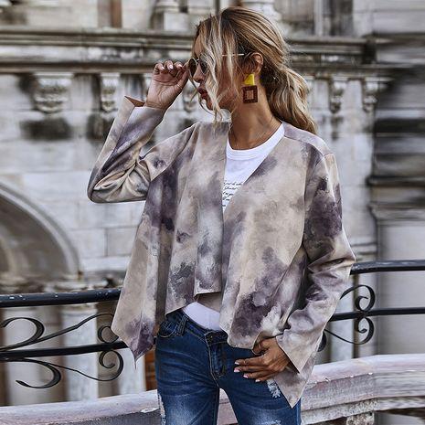 Autumn Women's Hepburn Suede Printed Long Sleeve Jacket NHDF264316's discount tags