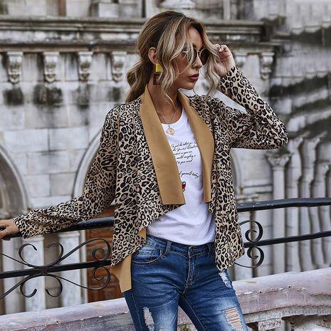 autumn women's big lapel open collar leopard print jacket  NHDF264321's discount tags