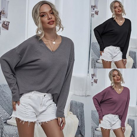 Autumn new knitted V-neck mesh fashion casual women's sweater NHDF264326's discount tags