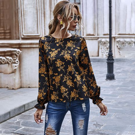 women's autumn and winter round neckline print chiffon long sleeves blouse  NHDF264328's discount tags