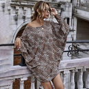 womens offshoulder leopard print oblique shoulder longsleeved knitted autumn and winter dress NHDF264339