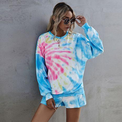 Digital Printed Round Neckline Long Sleeve Sweatshirt Women Shorts Casual Fashion Suit NHDF264342's discount tags