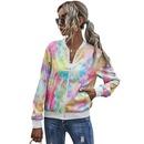 fashion beltless simple digital round neckline casual tiedye longsleeved jacket for women NHDF264344