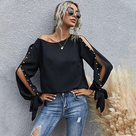 autumn new women's pure color fashion pearl open long sleeve round neckline blouse  NHDF264350's discount tags