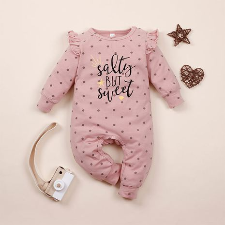 autumn baby long-sleeved one-piece casual letters flying sleeve romper NHLF264354's discount tags