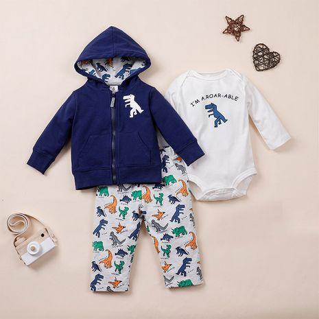 autumn cartoon baby three-piece baby zipper dress trousers  NHLF264355's discount tags