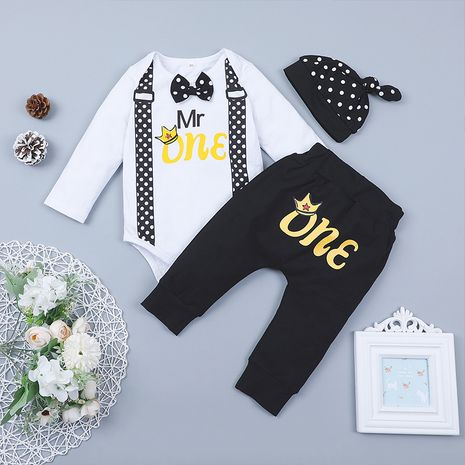 hot-selling children's clothing isn't two-piece baby British hat romper long-sleeved trousers suit  NHLF264356's discount tags