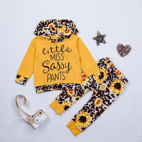 Printed Baby Autumn Letter Romper Two-piece Hooded Long Sleeve T-shirt Pants Kids Set  NHLF264358's discount tags