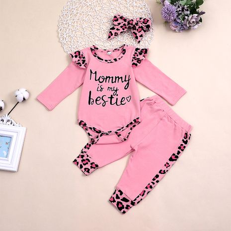 Children's clothing baby letter two-piece baby flying long sleeve romper jumpsuit trousers set hot sale NHLF264359's discount tags