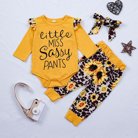 Children's clothing autumn new letter two-piece suit printing romper trousers suit hot sale NHLF264362's discount tags