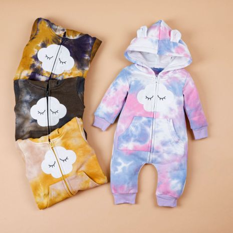 autumn and winter baby clothes one-piece hooded velvet tie-dye romper  NHLF264365's discount tags