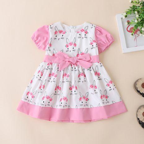 Korean children's clothing summer fashion bow short-sleeved rabbit print loose dress NHLF264368's discount tags