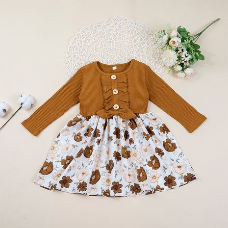 autumn new children's long-sleeved printed A-line loose cute stitching dress NHLF264375's discount tags