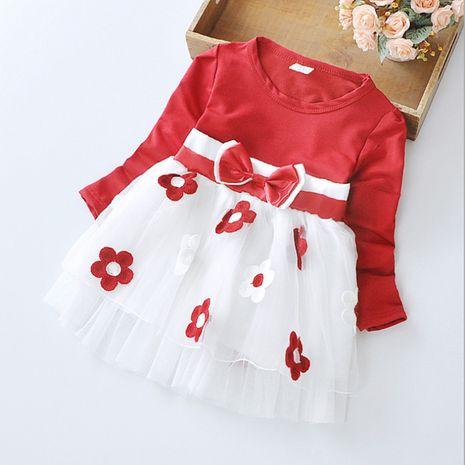 Otoño coreano de manga larga suelta bebé lindo vestido de flores con lazo NHLF264379's discount tags