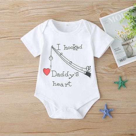 Summer babies and toddlers funny short-sleeved onesie cute romper NHLF264383's discount tags