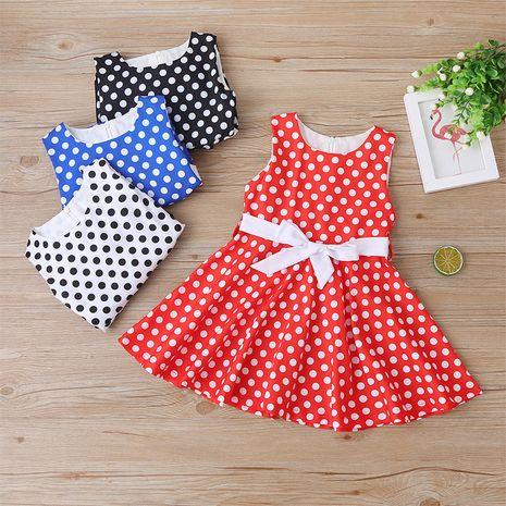 Summer polka dot fashion sleeveless children's A-line dress NHLF264385's discount tags