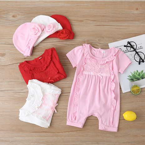 Summer baby girl short-sleeved one-piece solid color sweet short romper NHLF264386's discount tags
