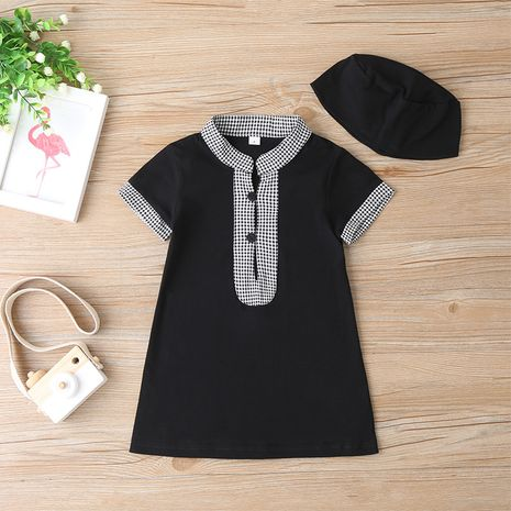 Children's summer short-sleeved long ethnic style fashion black dress NHLF264390's discount tags