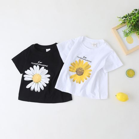 children's summer short-sleeved small daisy T-shirt wholesale NHLF264391's discount tags