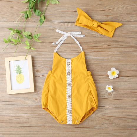 baby onesies solid color single-breasted sling fashion Korean romper  NHLF264394's discount tags
