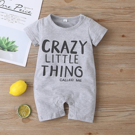 fashion boys' bodysuit letters gray casual short crawl clothes NHLF264395's discount tags