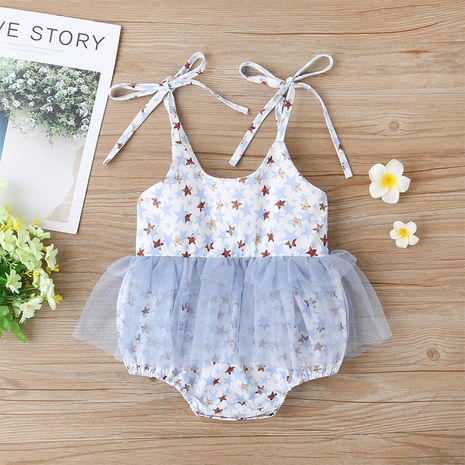 baby girl sling stitching mesh romper  NHLF264397's discount tags