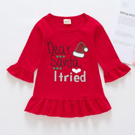 Girls autumn and winter bottoming shirt clothing round neckline Christmas shirt NHLF264399's discount tags