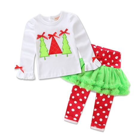 2019 foreign trade children's clothing new European and American girl cartoon new year Christmas two-piece suit factory direct sales NHLF264401's discount tags